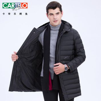 Cartelo/Brand New Long Winter Down Jacket Warm Men Casual Clothing Long Male 90% White Duck Down Coat Hooded C For Male