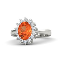 Oval Fire Opal 18K White Gold Ring with White Sapphire & Diamond