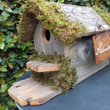 An  Advice For The Bride And Groom Card Box Birdhouse Features A PERSONALIZED Roof, Moss, Rusty Tin Sign And Will Open To Hold Advice Cards