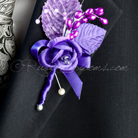Pearl Purple Flowers Wedding Boutonniere