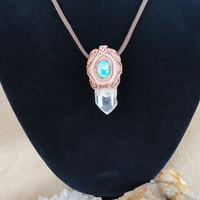 Healing All Chakra Quartz Crystal Pendant Heart  Chakra Aventurine Necklace Gem Stone Sam Art Jewelry