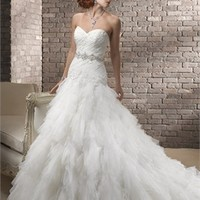 Gorgeous strapless sweetheart beading tulle white fall wedding dresses 2012 BAML0050