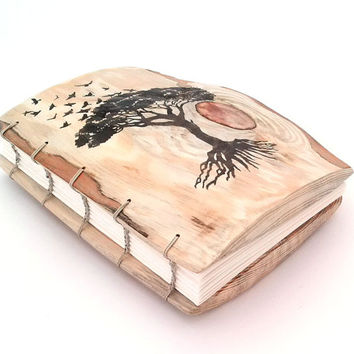 Rustic WEDDING GUEST BOOK - personalized - Coptic Binding - Tree of Life - wooden guestbook -unique journal