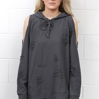 Cold Shoulder Distressed Out Hoodie {Charcoal}