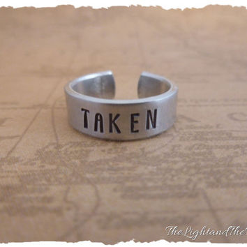 Hand Stamped Relationship - Taken - Adjustable Ring - Gift for her - His Her - Couples - stamped metal - adjustable ring - thumb ring