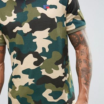 Russell Athletic T-Shirt in Camo at asos.com