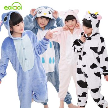 EOICIOI New Flannel Kids Pajamas Animal Unicorn Stitch Pikachu Cosplay Onesuits Children Sleepwear For Boys Girls Pyjamas Hooded