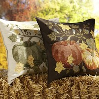 Pumpkin Patch Crewel Embroidered Pillow Cover