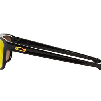 Tagre™ Cheap Oakley Sliver Valentino Rossi Sunglasses Polished Black Fire Iridium OO9262-27