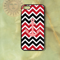 Black, Red Chevron Pink Anchor-iPhone 5, 5s, 5c, 4s, 4, ipod touch 5, Samsung GS3, GS4 case-Silicone Rubber or Plastic Case, Phone cover