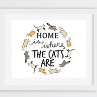 Printable Decor, Gift Idea for Cat Lovers, Home is Where The Cats Are Print, Quirky Home Decor, Cat Art Print, Cat Typography Printable Art