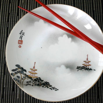 Vintage Porcelain Misty Clouds Landscape Temple Plate Omochaya Japan