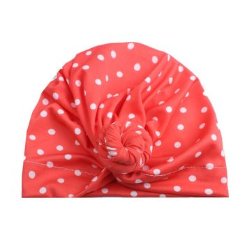 Cute Dots Print Newborn Toddler Baby Boy Girl Turban Kids Cotton Beanie Hat Fashion Casual Winter Warm Cap