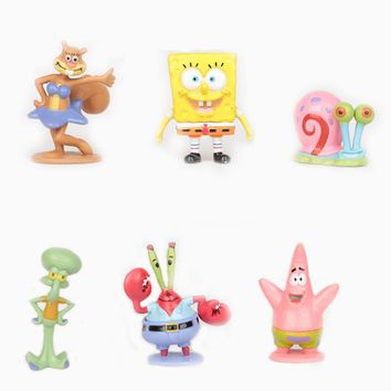 6pcs/set Sponge Bob Spongebob Miniatures PVC Action Figures Sandy Patrick Star Anime Figurines Collectibles Dolls Toys Gift#C