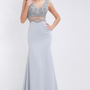 Grey Evening Dress Long Elegant with V-neck Beading Sleeveless Formal Jersey Prom Dresses Gowns