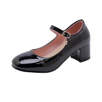 Mary Janes Square Head Buckle Patent Leather Mid Thick Heeled Shoes