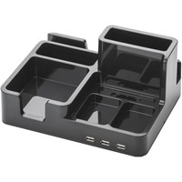 On My Desk 3-port Usb 2.0 Bay Area Desktop Organizer (black)