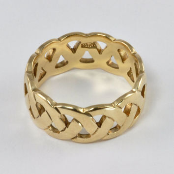 Wedding Ring - Vintage 1970s Ladies 14kt Yellow gold Wedding Band, Woven Design