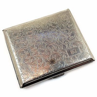 Engraved Cigarette Case Monogram KNB Vintage Flourish Germany Silver Tone m136
