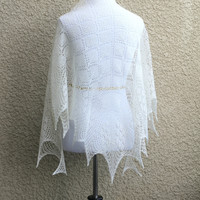 Knit lace shawl, wedding shawl, bridal shawl, gift for her
