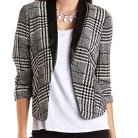 Faux Leather Lapel Plaid Blazer by Charlotte Russe