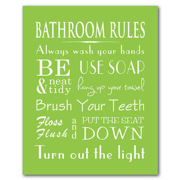 Bathroom Wall Art - Kids Bathroom Rules Family Bathroom Art Typography Word art - Wash hands - Flush - Hang up clothes - chalkboard look