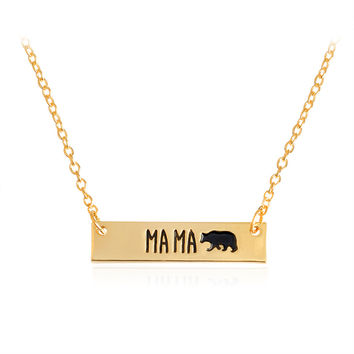 MA MA Bear Bar Tag Pendant Necklaces Gold Silver Charm collar Mommy and Me Adoption Jewelry New Mom Mother Birthday Gift