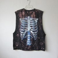 Skeleton Ribcage -- Splattered Zombie Halloween Horror Punk, Unisex Distressed Super Deep Cut Muscle Tee -- XXL