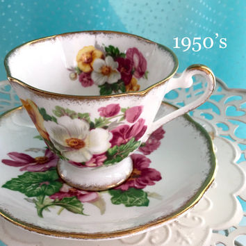 1950's Roslyn Vintage Tea Cup and Saucer, Bone China Tea Cup, Tea Cup Set, Summer Beauty, Engagement Gift