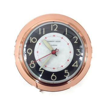 Mid Century Clock-Copper-Harmony House-Luminous-Glow on the Dark Dial and Hands-Electric-Wall Clock-Vintage Kitchen-Home Decor