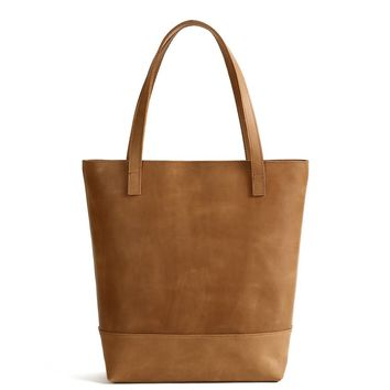 Handmade Vegetable Tanned Leather Tote Bag - Simple 1