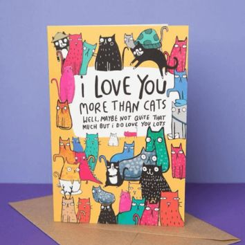 I Love You More Than Cats Funny Anniversary Card Valentines Day Card FREE SHIPPING