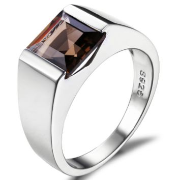 Men's 2.20 ct Genuine Brown Smoky Quartz Ring