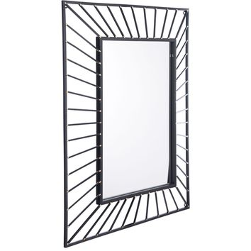 Black Sunburst Rectangular Wall Mirror