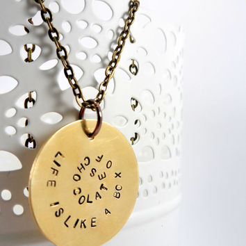 Movie Quote Life is Like a Box of Chocolates, Forest Gump, Handstamped Metal Jewlery, Quote Necklace, Antique Brass