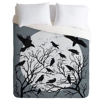 Heather Dutton Ravens Call Midnight Duvet Cover