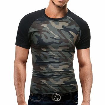 Mens T Shirt Summer Camouflage O-Neck Short-Sleeved Tees Male T-Shirt Slim Male Tops Dd01
