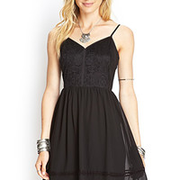 LOVE 21 Lace-Detail Cami Dress Black