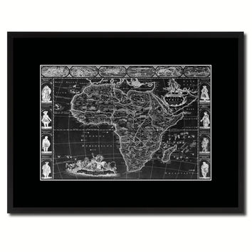Africa Vintage Monochrome Map Canvas Print, Gifts Picture Frames Home Decor Wall Art