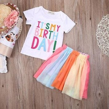 Girl Dress Birthday Dress Toddler Girls Clothes 2 piece Rainbow Print Kids Dresses For Wedding Party Wear Stripe Dress 2-7 Y