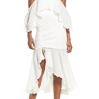 C/MEO COLLECTIVE Sacrifices Ruched Off the Shoulder Dress Ivory $180