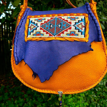 Beaded Deerskin Leather Purse - Native American Loom beading, OOAK Cross Body, Cell Pocket, Unique Bag Tribal, Boho Primitive Medicine Style