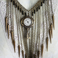 Bronze spike necklace with steampunk key watch and black glass rondelle beads