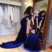 Royal Blue Halter Velvet Flower Girl Dress Primera Comunion Pageant Dresses For Little Girls Glitz Vestido Daminha Custom Made