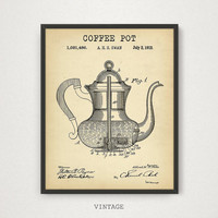 Coffee Pot Patent Print, 4 COLORS Printable, Coffee Poster, Kitchen Wall Art, Vintage Coffee Pot, Coffee Lover Gallery Wall, Kitchen Decor