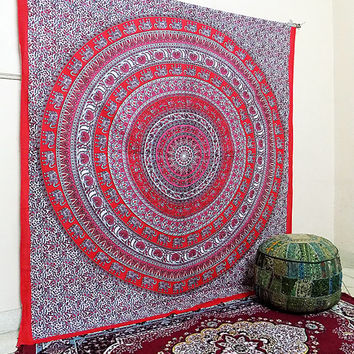 LARGE Mandala Tapestry Wall Hanging Hippie Bohemian Tapestries Indian Bedding Throw Bedspread Ethnic Elephant Mandala Home Decor