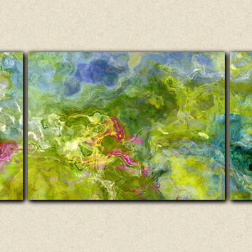 "Large triptych abstract expressionism stretched canvas print, 30x60 to 40x78 giclee in blue and green, ""Garden Party"""