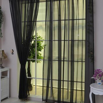 2 Pcs/set Sheer Voile Window Panel curtains home decoration modern curtain tulle fabrics organza sheer panel window