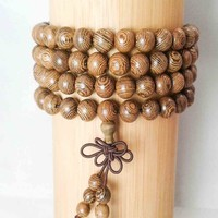 Natural Brown Wood 108-Bead Prayer Bracelet w/ Tassel