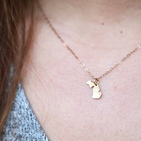 Tiny Gold Michigan Necklace